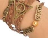 Braiding Leatheroid Wax Rope Bracelet Antique Bronze Deathly Hallows W/Lobster Clasp Extender Chain