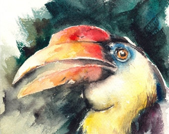 ORIGINAL Watercolor Painting, Hornbill Painting, Tropical Bird - CLEARANCE