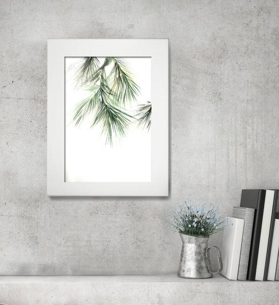 Minimalist Pine Tree: ORIGINAL Watercolor Painting Minimalist Painting Green Pine