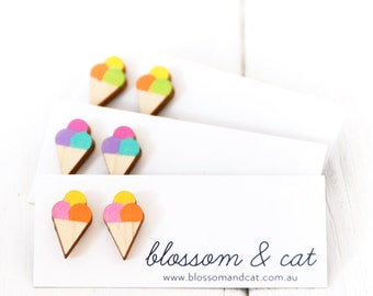 Ice Cream Cone Earrings · Gelato Earrings · Hand Painted Wood Icecream Stud Earrings