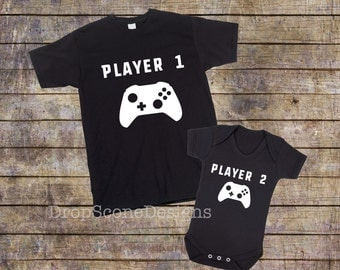Matching Player 1 And Player 2 - Mens T Shirt With Short Sleeve Bodysuit / Babygrow / Vest / Father's Day Gift Set / Dad and Child