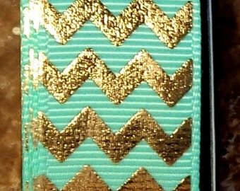 "2 Yards 7/8"" Aqua Blue with Gold Chevron - Zig Zag Print - U.S. Designer"