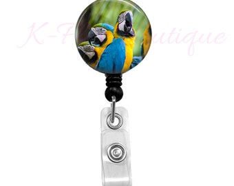 Blue And Gold Macaw Badge Reel