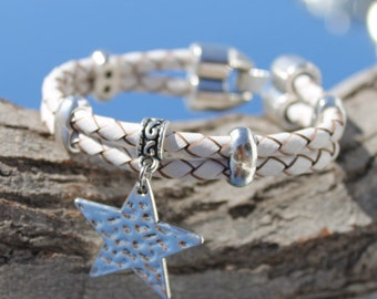 white braided leather Bracelet with star