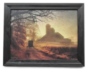 Amish Farm Picture, Sunday Morning, Primitive Art, Country Home Decor, Wall Hanging, Handmade, 28X22, Custom Wood Frame, Made in the USA