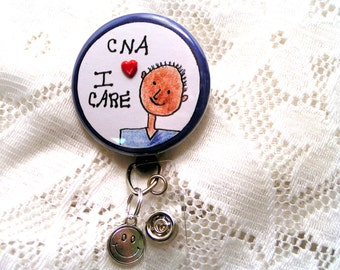 retractable id badge holder for African American male CNA,badge pull with smilely face charm for male CNA,badge reel for CNA
