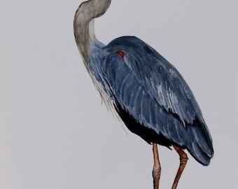"LARGE bird print bird art blue heron ""Magestic"" watercolor by Betty Moore"