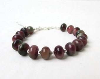 Rosy apple jade bracelet, Handmade in the UK