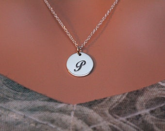 Sterling Silver Cursive Circular P Initial Charm Necklace, Cursive P Initial Necklace, Large P Letter Necklace, P Necklace, P Charm Necklace