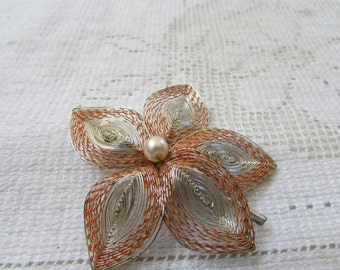 Vintage wire wrapped flower brooch pin with faux pearl  and orange threads 1950's