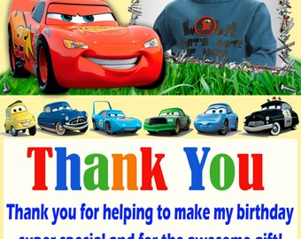 Disney Cars thank you card, Disney Cars birthday card , cars thank you card, boys thank you card- Digital file