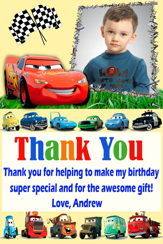 Disney Cars thank you card Disney Cars birthday card cars – Disney Cars Birthday Cards