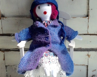 Gift for her rag doll, soft cloth rag doll,, one of a kind cloth doll, gift doll,  birthday gift doll, anniversary gift, No 7