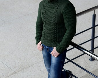 Fisherman knit sweater, Men pullover, Men's knit clothing, Cable knit sweater, Gift for him, Hand knit jumper, Gift for husband anniversary