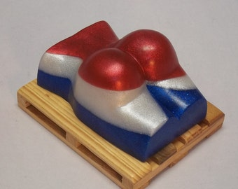 The Patriot Butt-shaped soap, scented with vanilla, sandalwood & musk