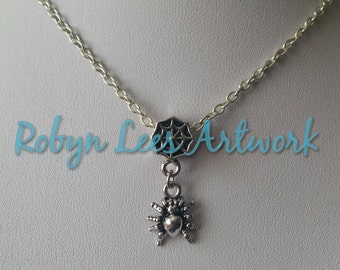 Small Gothic Silver Spider Charm Necklace with Spider's Web Bead on Silver Crossed Chain or Blacl Faux Suede Cord