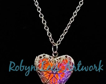 Red Glow In The Dark Filigree Heart Necklace in Silver on Various Lengths of Crossed Chain