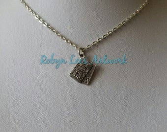 Small Silver Joker Card Charm Necklace with Ace on Silver Crossed Chain or Black Faux Suede Cord, Poker, Gambling, Card Games