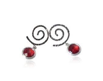 Ruby Red Glass Gem and Spiral Silver Earrings, Silver and Red Drop Earrings, Red Crystal and Silver Bridal Jewellery, Bridesmaid's Earrings
