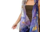Purple scarf. Silk scarf hand-painted. Art wearable silk bird birdie. autumn yellow grey green whisical Birthday present