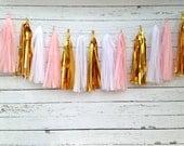Pink Gold Birthday Banner Girl KIT Pink Gold first birthday Pink Nursery Garland Tissue Garland Pink tissue tassel garland candy buffet
