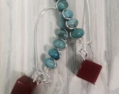 Turquoise Wired Earrings with Coral Square Drops