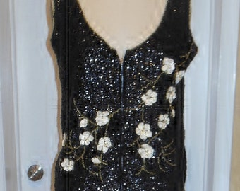Sequined Zip-front Vest with Dogwood detail