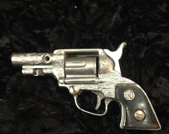 Vintage Nichols Paint Toy Revolver Cap Gun with Black Grips