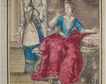 French Costume Engraving, Porcie, Famous Women of Antiquity,  by Bonnart  published c. 1690