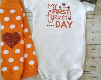 My First Turkey Day, Thanksgiving, Fall Thanksgiving Outfit, Baby's First Thanksgiving, Glitter Bodysuit, Legwarmers, Headband