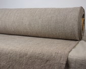 Pure 100% linen fabric 380gsm. Melange natural and brown. Heavy, washed-softened. For overdress clothes,  home textile.