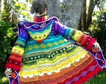 Custom freeform technicolor dream coat