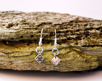 Silver lucky dice earings