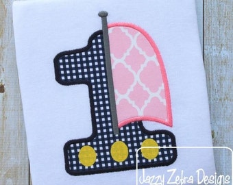 Sailboat One Appliqué embroidery Design - 1st birthday appliqué design - first birthday appliqué design - birthday appliqué - sail boat