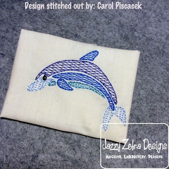 Dolphin Color Motif Fill Embroidery Design - beach Embroidery Design - dolphin Embroidery Design - summer Embroidery Design