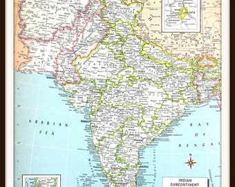 Vintage India Map, Large 12 x 9 Art Print, Includes Afghanistan, Colorful Vintage 1970s Book Plate, Wall Art, Ready to Frame