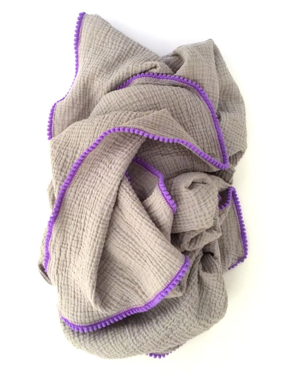 Grey Swaddle Blanket / Grey Baby Blanket / Grey with Purple Pom Pom Swaddle Blanket / Blanket / Newborn Blanket / Newborn Baby Blanket