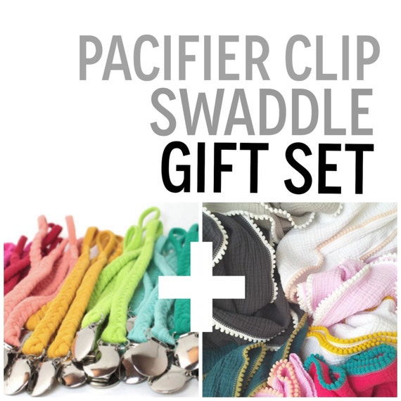 Pacifier Clip and Swaddle GIFT SET