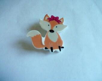 Plastic fox brooch