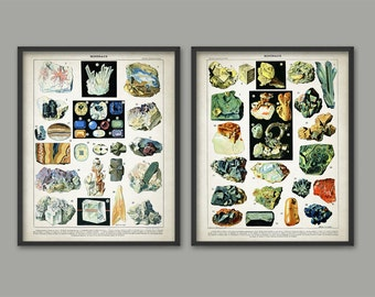 Minerals And Gemstones Print Set Of 2 - Geology Decor - Precious Stones -  Geology Earth Science - Mineral Crystal - Geologist Gift Idea