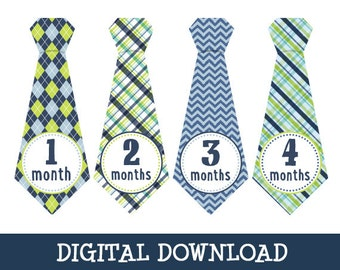 Digital download - Micah Ties,  monthly baby stickers,  PDF download