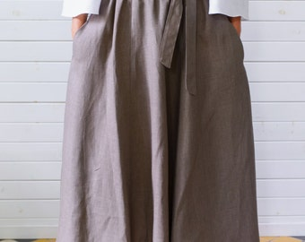 Maxi linen skirt with pockets, Maxi flax skirt, Summer skirt with pockets, Brown linen skirt, Maxi skirt with pockets, Handmade linen skirt