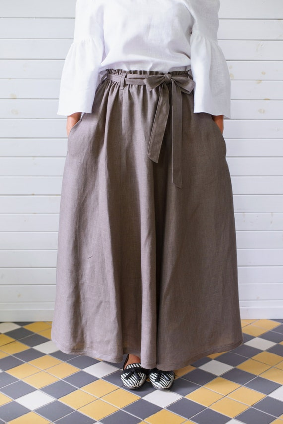 Maxi linen skirt with pockets Maxi flax skirt Summer skirt