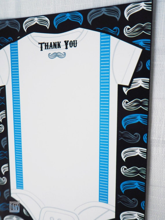MUSTACHE Bash THANK You Note PRINTABLE Pdf