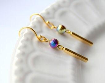 Hematite earrings, Gold earrings, Gemstone earrings, Gift for her, Magnetic Earrings, Disco ball earrings, Gift for Mom, Metallic earrings