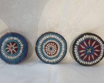 "Afghani Tribal Beadwork ~ 3 Round Beaded Medallions ~ Afganistan ~ Antique Gul i Peron ~ 4""(10cm) dia ~ Red White Blue Beads / White Shells"