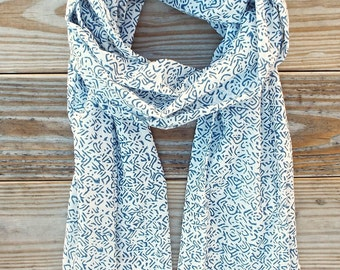 Fair Trade Blue & White Cotton Scarf: Hand Block Printed and Eco Dyes