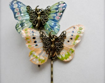 Butterfly Bobby Pins, Brass Fairy Filigree Butterfly Bobby Pins, Butterflies & Brass Fairy Filigree, Butterfly Bobby Pin Hair Accessory