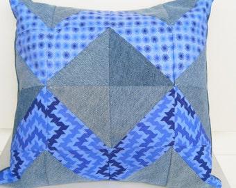 quilted denim pillow, blue couch pillow, denim throw pillow, blue  purple pillow, repurposed denim pillow, denim cushion, reused jeans
