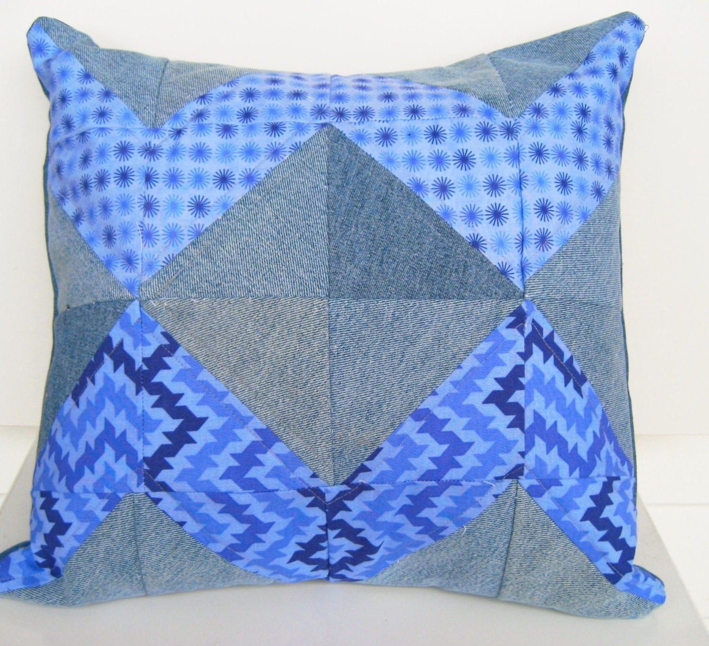 quilted denim pillow blue couch pillow denim throw pillow